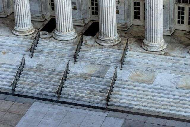 Stone Courtroom Steps And Pillars